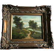 French Barbizon School Style Figure in Landscape Oil Painting in Ornate Frame