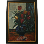 Expressionist 1968 Sasha Moldovan (Highly Listed Artist Russian / American (1901-1982) Original Still Life Oil Painting