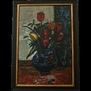 Superb Expressionist 1968 Sasha Moldovan (Highly Listed Artist Russian / American (1901-1982) Original Still Life Oil Painting