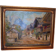 1930s European Beautiful Oil Painting Landscape Signed
