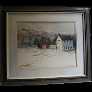 "Al Barker NYC Salmagundi Club Provenance 1973 Original Watercolor""Winter Barns"" Robert Frost Farm Derry New Hampshire"