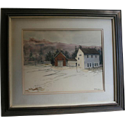"Al Barker NYC Salmagundi Club Provenance 1973 Original Watercolor""Winter Barns"" Robert Frost Farm Derry New Hampshire"