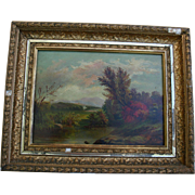 Antique Hudson River School NY Autumn Landscape Fine Art Original Oil Painting