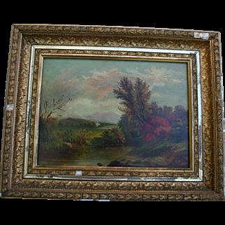Antique Hudson River School NY Autumn Landscape Fine Art Original Oil Painting