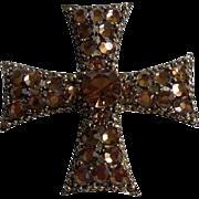Signed Weiss Beautiful Rhinestone Maltese Cross Brooch