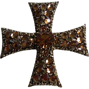 Signed Weiss Beautiful Rhinestone Maltese Cross Brooch
