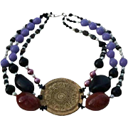 Runway Worthy Couture Mayan Calender Chunky Necklace by Coreen