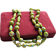 Gorgeous Lime Green & Blue Venetian Wedding Cake Glass Bead Necklace