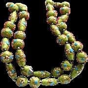 Gorgeous Lime Green & Blue Venetian Wedding Cake Glass Bead Necklace