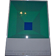 Rare Josef Albers 1971 -72 MET NYC Exhibition Poster Green Homage To The Square Authentic Vintage
