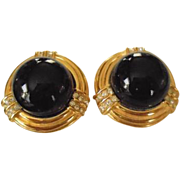 Ciner Sophisticated Black Domed Rhinestone Accent Clip Earrings