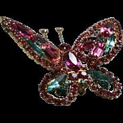 Book Piece Juliana DeLizza & Elster Pink Aqua Blue Rhinestone Butterfly Brooch