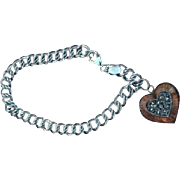Signed Judith Jack Enamel Sterling Charm Bracelet Double Link Heart Locket
