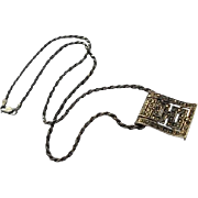 925 Italy Sterling Silver & Marcasite Rope Chain Pendant Necklace