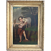 Masterpiece Saint John With The Lamb Superb Antique Oil Painting American School After Murillo