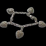 925 Hearts Charm Bracelet Solid Sterling Silver