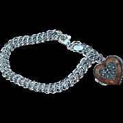Vintage 925 Judith Jack Charm Bracelet Double Link Enamel Heart Locket
