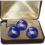 Model T Ford Royal Blue Vintage Cufflinks and Tie Clip Set in Case