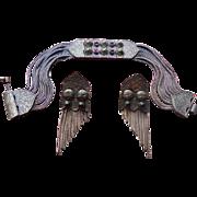 Turkish Byzantine Style Sterling Silver & Amethyst Bracelet & Earrings Set by Gumus Evi