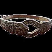 Judith Jack Sterling Heart Buckle Marcasite Clamper Bracelet