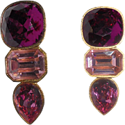 Rare NYC Mary Frost Festive Red & Pink Faceted Rhinestone Drop Earrings