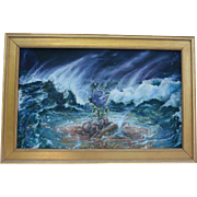 Blue Rose Surviving Storms Important Artwork by Alice Stepanek & Steven Maslin World Renowned Artists Collaborative Oil Painting (Germany / England)  NYC Gallery Provenance