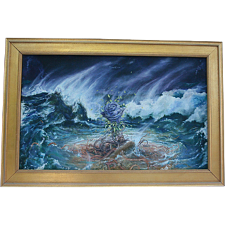 1980s NYC Gallery Provenance Oil Painting by Alice Stepanek & Steven Maslin (England / Germany) Collaborative Oil Painting Surrealist Blue Rose Surviving Storms