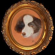 1903 Antique Dog Oil Painting Border Collie Artist Signed