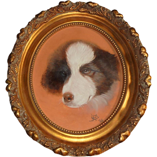 1903 Antique Dog Oil Painting Border Collie Artist Signed