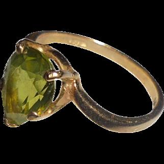 14K Esemco Peridot Modernist Ring Size 6