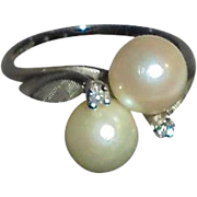 14K White Gold Diamond Cultured Pearl Baden & Foss Ring Size 5