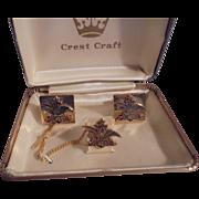 Vintage Anheuser Busch Gold-Filled Cufflinks & Tieclip Set by Crest Craft Mens Vintage Jewelry