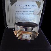 Gorgeous Cuff Bracelet Watch 1980s Art Deco Revival Presentation Case with Papers  ~ Franklin Mint