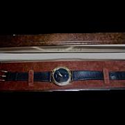 Mens Gucci 18K Gold Plated Watch Black Snakeskin Band in Original Presentation Case