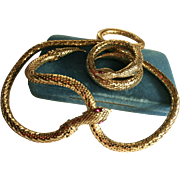 Whiting & Davis Signed Gold Mesh Snake Serpent Belt & Bracelet Set