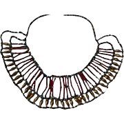 Egyptian Revival Red Blue Cleopatra Bib Necklace