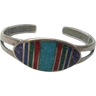 Sterling Inlaid Lapis Coral Turquoise Cuff Bracelet Coleman Black Hills