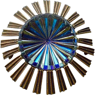 Rare Atomic Sunburst Space Age Watermelon Colors Signed Jeanne Brooch