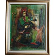 Mid-Century Cubist Oil Painting Man With Guitar Signed