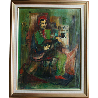 Cubist Oil Painting Man With Guitar Signed