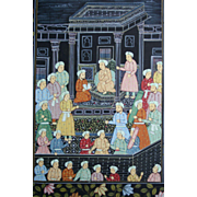 Large Original Mughal Painting on Silk Palace Scene Floral Border