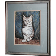 Watercolor Gouache Painting  Playful Kitten Staring at Bubbles