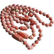 3 Pc Parure 140 Grams Angel Skin Coral & 14K Gold Hand Knotted ~ Necklace Bracelet & Earrings Set Carved Asian Design
