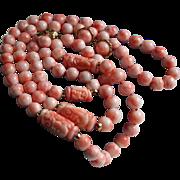 140 Grams Angel Skin Coral & 14K Gold 3 Pc Parure Hand Knotted ~ Necklace Bracelet & Earrings Set  Carved Asian Design