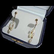 14K Gold Freshwater Cultured Pearl Pierced Dangling Earrings
