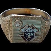 14K White Gold Diamond Knights of Columbus Fraternal Band Ring Enamel Size 10.5