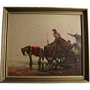 "Horse and Wagon on Beach ""Bringing The Catch To Market""  Fishing Boat and Merchant Vintage Print on Canvas Board"