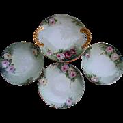 Antique Limoges Pink Roses Hand Painted Serving Tray and Dessert Plates Set 1911 T&V France Artist Initial Signed Gold Gilt Trim Tresseman and Vogt