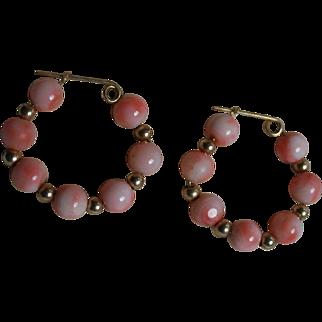 14K Gold Angel Skin Coral Hoop  Earrings Pierced 6mm Coral Beads