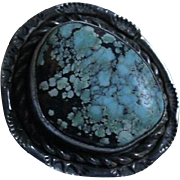 Navajo Blue & Black Turquoise Chunky Sterling Silver Ring Size 7.5 Native American - Red Tag Sale Item